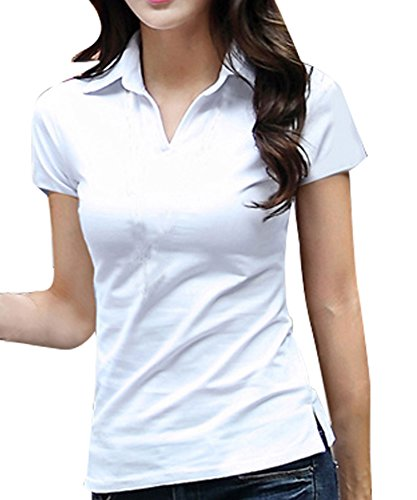 Polo T-shirts Women - FACE N FACE Women's Cotton V Neck Polo Short Sleeve Casual Tops Tshirt Small White