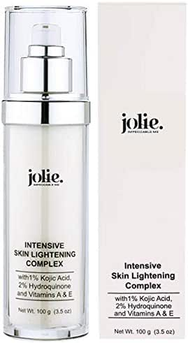 Jolie Intensive Skin Lightening Complex W/ 2% Hydroquinone, 1% Kojic Acid, Vitamins A and E, Aloe and Sunflower Seed Oil - For Face + Body - 3.5 oz