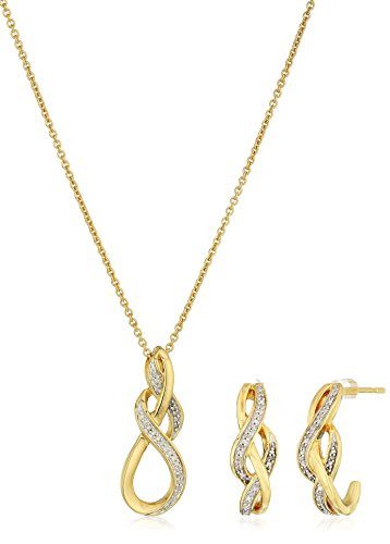 18k Yellow Gold over Sterling Silver Earrings and Pendant Box Set (1/10 cttw), 18""