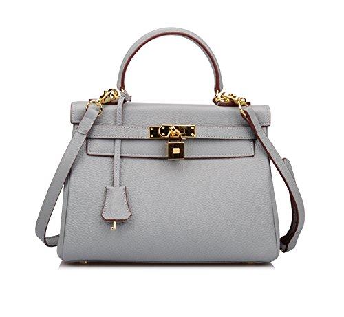 Ainifeel Women's Padlock Shoulder Handbags Hobo Bag (28cm, Grey blue) by Ainifeel