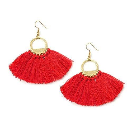 Honbay Women Red Bohemian Fan Shape Tassel Earrings Fashion Dangle Drop Earring Hooks (Shape Fan Earrings)