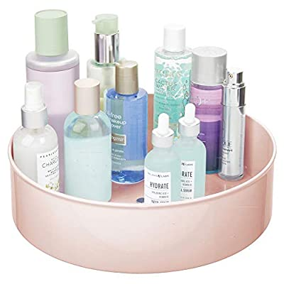 """mDesign Plastic Spinning Lazy Susan Turntable Storage Tray - Rotating Organizer for Bathroom Vanity Counter Tops, Under Sink, Closets, Dressers - 11.5"""" Round - Light Pink/Blush - EASY REACH: This rotating tray makes items easy to reach, even when stored up high; The raised outer edge keeps items safely in place while the tray is spinning; Keep your bathroom neat and tidy; This item makes it easy to find your favorite makeup and cosmetic items quickly; Use as a nail center - keep all of your polish, remover, and supplies in one convenient spot; Create a face care station by keeping cleansers, toners, misters, face lotions and other face care items organized MAXIMIZE STORAGE SPACE: Revolving turntable maximizes storage space, especially in corner cabinets and deep base cabinets; Sized to fit vitamin bottles, medicine, first aid essentials, hand lotion, serums, foundation, powder, blush, lipstick, makeup brushes, eyelashes, eyeshadow palettes; Organizer is perfect in so many rooms of the home; Try it inside bathroom cabinets or under the sink and even in your kitchen, pantry, refrigerator, craft room, hobby room, laundry or utility room or garage EASY GLIDE - ROTATES 360°: The turntable operates on smooth-gliding stainless steel ball bearings for an easy spin every time; The smooth rotation makes it quick and easy to find your favorite items; Use in cabinets, cupboards and shelves in any room of the home; Great for houses, apartments, condos, college dorm rooms, RVs and campers - organizers, bathroom-accessories, bathroom - 41qaoGYw6aL. SS400  -"""