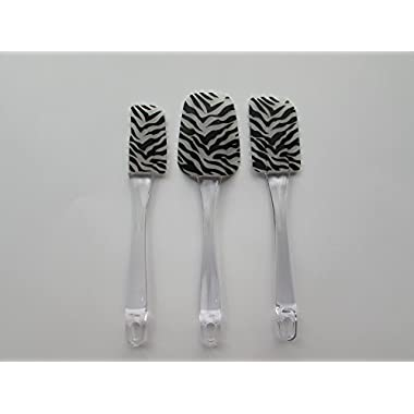 Silicone Rubber Spatula, Set of 3, in Zebra Print