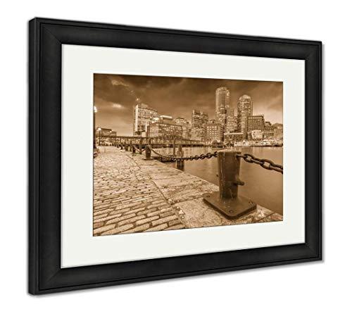 Ashley Framed Prints Boston, Massachusetts, USA Harbor and Cityscape at Dusk, Wall Art Home Decoration, Sepia, 34x40 (Frame Size), Black Frame, AG32784032