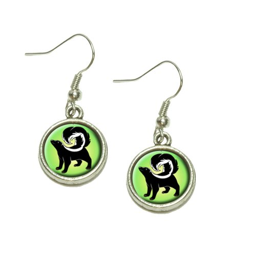 Skunk Dangling Drop Charm Earrings ()
