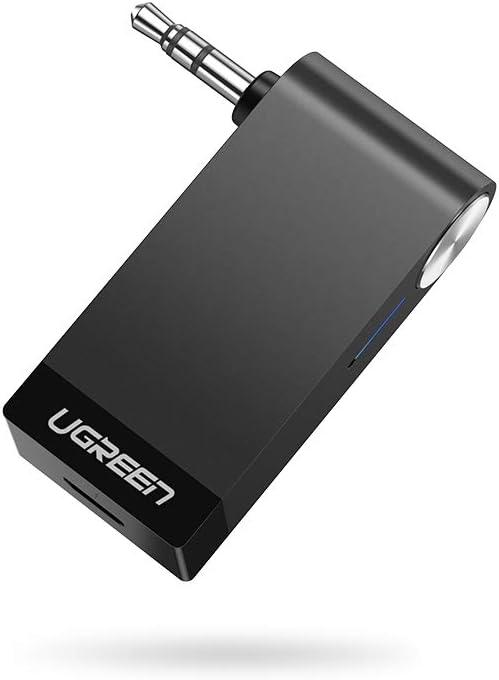 UGREEN Receptor Bluetooth 5.0, Auxiliar Bluetooth Coche con Micrófono para Llamadas Manos Libres, Adaptador Audio Jack 3.5 con EDR y A2DP HiFi Estéro para Coche, Altavoz, Auriculares, Amplificador