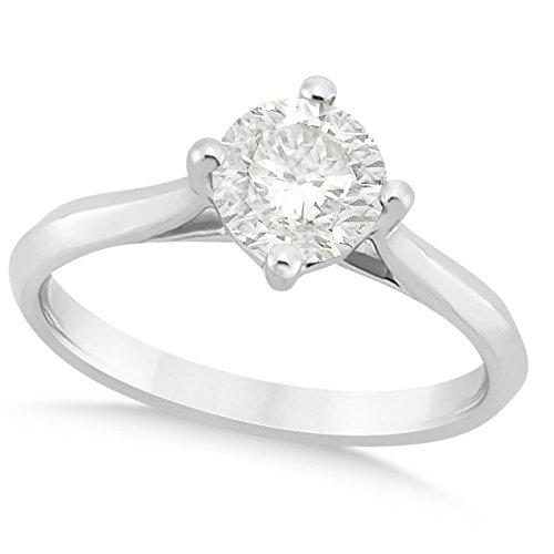 (1.00ct) Platinum Round Solitaire Diamond Cathedral Preset Engagement Ring ()