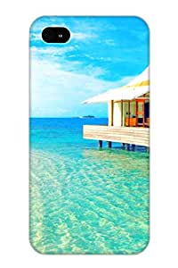 Exultantor Tpu Case For Iphone 4/4s With Luxury Water Bungalows, Nice Case For Thanksgiving Day's Gift