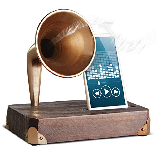 Sharper Image Wooden Smartphone Dock with Vintage Sound Amplifier, Classic Horn Acoustically Boosts Music and Audio, Unplugged and Battery-Free, Stylish, Fun Gift and Home Décor