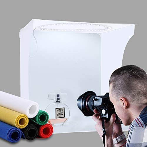 Photo Light-Box Portable Photography Studio Light Tent Shooting Tent kit Foldable Small Product Jewellery Photography Booth Kit White Soft Cube with switchable 3 Colors LED Circle Lights (12 inch)