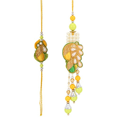 Accessorisingg Rakshabandhan 2020 Yellow Green Pearl Rakhi Lumba Set for Bhaiya Bhabhi in Gift Box and Kumkum-Chawal [RAL045] (B07THJMW1N) Amazon Price History, Amazon Price Tracker