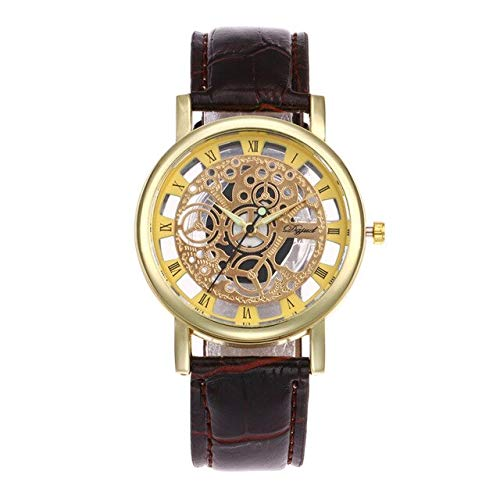 Star-Trade-Inc - Luxury Business Leather Band Bracelet Watche Gold Color Hollow Skeleton Dial Wrist Watch For Women Men Wrist Watch Clock