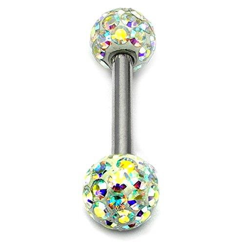 Bon Glitzy piercings de langue avec bille cristal AB/Doubles piercings (Arc-en-ciel/Barre en acier chirurgical 1,6 mm longueur 12 mm Boules 5 mm
