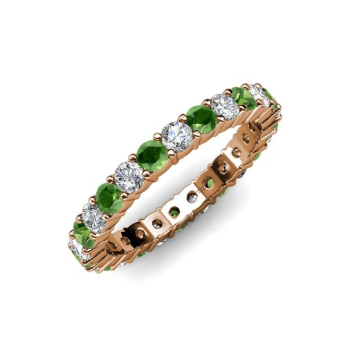 Green Garnet and Diamond Common Prong Eternity Band 2.16 ct tw to 2.59 ct tw in 14K Rose Gold.size 8.5 (Eternity Band Diamond 2ct Tw)