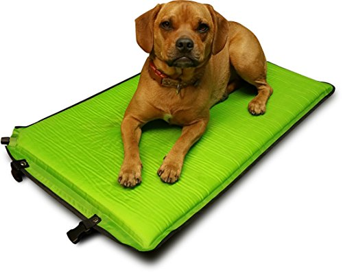 Hugs Pet Products Self Inflate Puff Travel Pad for Dogs, Green