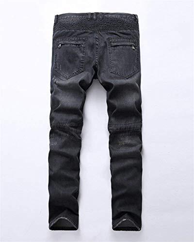Vintage Motociclista Strappati Giovane Stretch Da Casual Nero Slim Jeans Uomo Fit Pantaloni 71qIIB