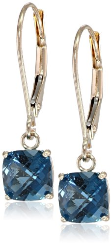 - 10k Yellow Gold Cushion Checkerboard Cut London Blue Topaz Leverback Earrings (6mm)