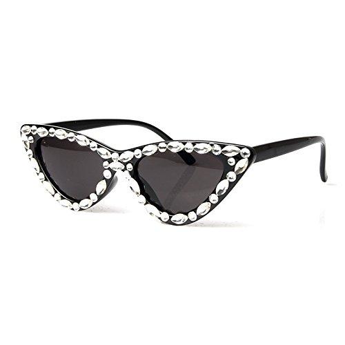 Mujer Triángulo Diamantes Ojo Il De Pequeño Espalda Gafas Negro Gafas Uv400 De Gafas Vintage Sexy De TIANLIANG04 De nero Gafas De Sol Rojo Lujo Gato Hembra Negro O4qa8wxtnf