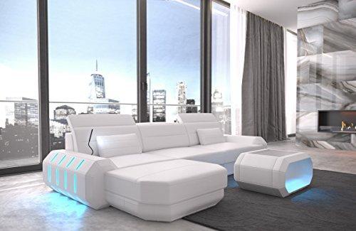 Sofá de Cuero Roma Blanco de Esquina Reposacabezas Iluminación Luz Led