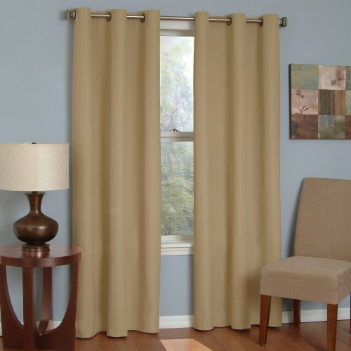 "ECLIPSE Blackout Curtains for Bedroom - Microfiber 42"" x 84"" Insulated Darkening Single Panel Grommet Top Window Treatment Living Room, Beige"