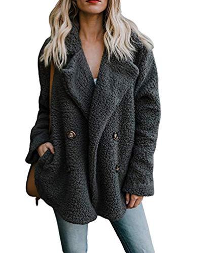 Cappotti Inverno con Grigio Tasche Scuro Pelliccia Soprabito Cappotto Giacca Donna en Caldo Addensare Cardigan Sintetica Cayuan Soffice 6RqF5nx7w
