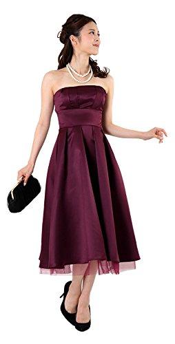 どこにもワイン愚かな結婚式 ブライズメイド ドレス ミモレ丈 お呼ばれ パーティー 大きいサイズ カラー 成人式 同窓会 ドレス 演奏会 二次会 20代 30代 40代 FD-250078 (S, エッグプラント)