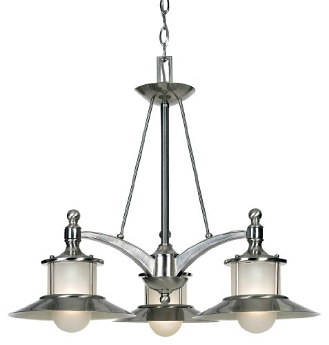 Quoizel NA5103BN 3-Light New England Dinette Chandelier in Brushed Nickel from Quoizel