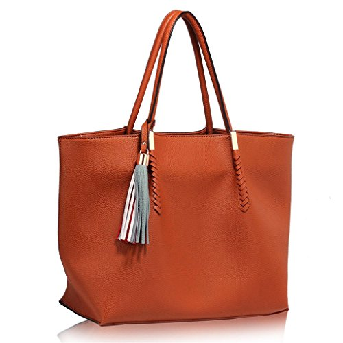 Bags Handbags LARGE BAG TASSEL Large Shoulder Tote 454 CHARM Quality Nice BROWN LeahWard Bag Women's Size Designer Ladies WITH F1TPcySZ