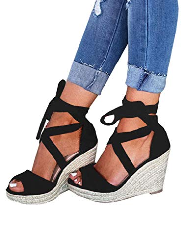 Liyuandian Womens Wedge Espadrilles Strap Sandals Ankle Lace up Peep Toe Cute Shoes Size ()