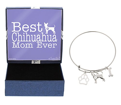 Mother's Day Gifts Best Chihuahua Mom Ever Bracelet Gift Love Dog Breed Silhouette Adjustable Bangle Charm Silver-Tone Bracelet Gift for Chihuahua Owner Jewelry Box