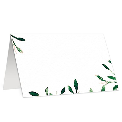 Greenery Place Cards (50 Pack) Simple Elegant Rustic Leaves Escort Cards for Wedding Catering Corporate Event Boutique Fill In Guest Name Buffet Food Sign Seat Assignment 3.5 x 2