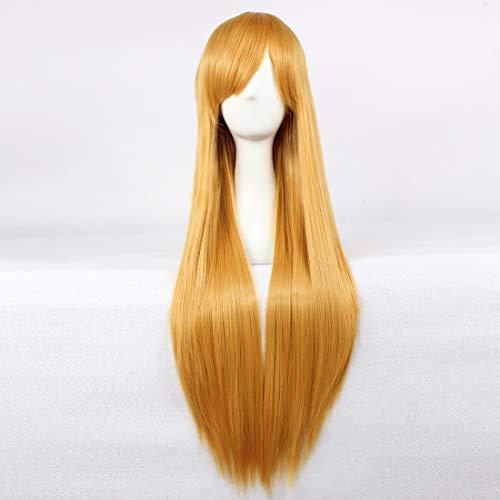 HOOLAZA Golden Long Straight Wig Sailor Moon Eva Asuka Shikinami Langley Shirley Fenette for the Halloween Party Cosplay Wigs -