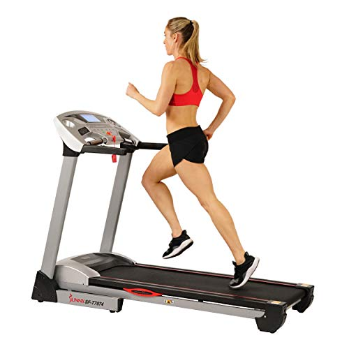 Sunny Health Fitness Electric Treadmill with 11 MPH Max Speed, Integrated Speakers, Body Fat Calculator, USB Ports, Auto Incline, Pulse Monitor and 285 LB Max Weight