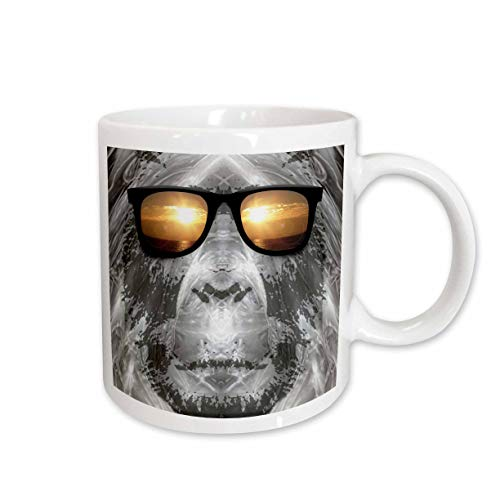 3dRose Bigfoot in Shades or Sasquatch is Pictured in Style Wearing Sunglasses Mug, 11-Ounce