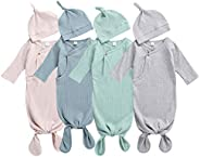 Argeousgor Knotted Baby Gown with Knotted Hat Newborn Cotton Nightgown Solid Plain Long Sleeve Sleeping Bags F