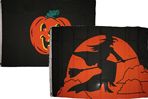 (ALBATROS 3 ft x 5 ft Happy Halloween 2 Pack Flag Set Combo #52 Banner Grommets for Home and Parades, Official Party, All Weather Indoors)