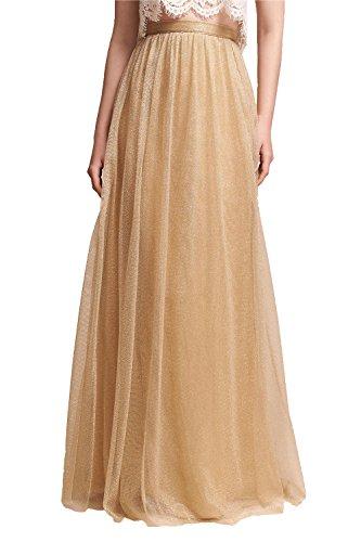 Honey Qiao Maxi Skirt Tulle Bridesmaid Dresses High Waist Floor Length Long Woman Gold ()