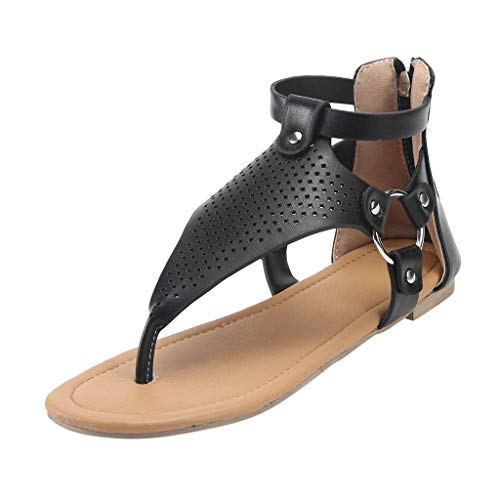 - OrchidAmor Women's Casual Rome Solid Hollow Out Open Toe Zipper Sandals Flat with Shoes Black