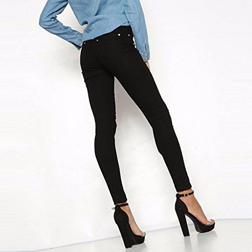 Skinny z Noir Trou Fleur Jeans Mode Féminine Broderie Qiyun Denim Genou Détruite Déchiré E29YWeHID