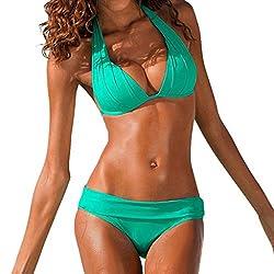 Dayplay Women S Swimsuit Push Up Swimwear Brazilian Bikini Set Halter Retro Beach Bathing Suits 2019 Sale Green