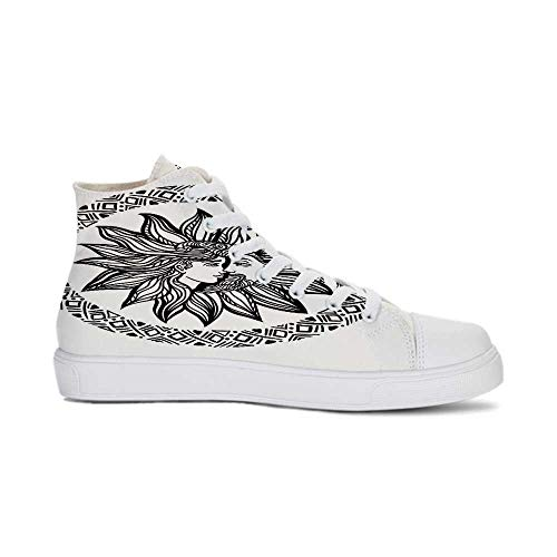 Sun and Moon Durable High Top Canvas Shoes,Bohemian Tattoo Design Alchemy Occult Symbol Boho Chic Hipster Spiritual Decorative for Men,US 8.5