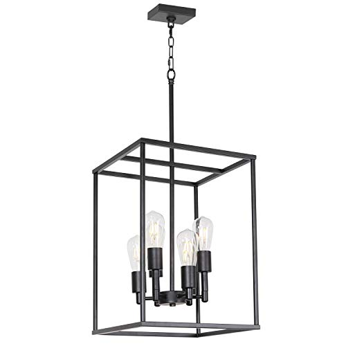 - VINLUZ Classic Foyer Pendant Lighting 6 Light Black Farmhouse Chandelier Finish with Square Cage Shades Fixtures for Kitchen Dining Room Entryway