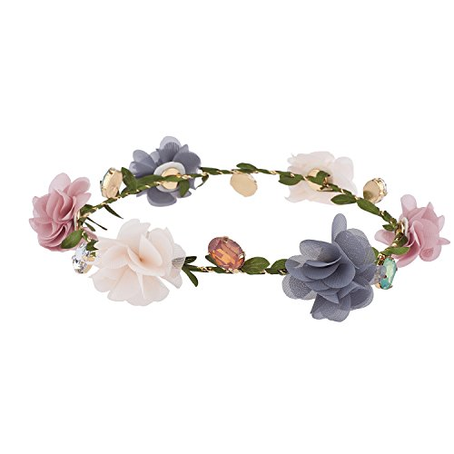 icolor Chiffon Jewel Garland Festival Flower Crown ()