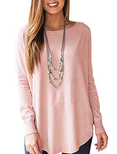 Uincloset Women's Fall Long Sleeve Tops Casual Loose Tunic for Women (Peplum Top Knitted)