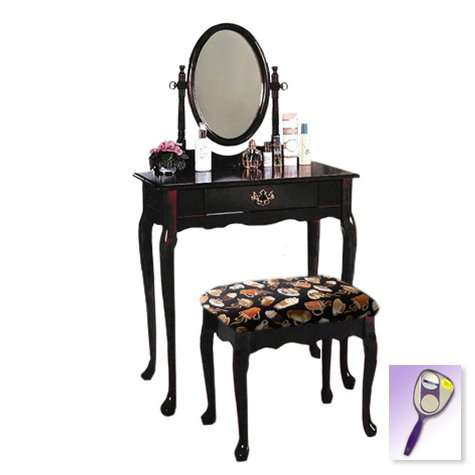 New Cherry Finish Queen Anne Make Up Vanity Table with Mirror & Coffee Espresso Themed Bench