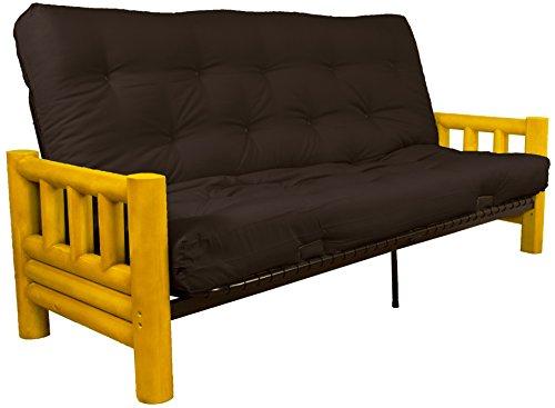 Epic Furnishings Rocky Mountain True 8-inch Loft Cotton/Foam Futon Sofa Sleeper Bed, Queen-size, Twill Brown Upholstery