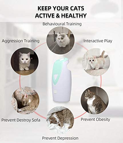 DAMGOO [2019 Safe for Eyes] Interactive Cat Light Toy Automatic Rotating Light Toys for Cats Electronic Toys for Exercise, Rechargeable,2 Speeds (Green) 5