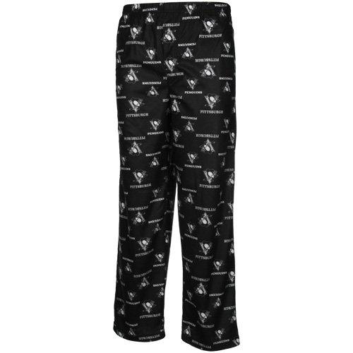 Football Fanatics NHL Pittsburgh Penguins Youth Black Team Logo Flannel Pajama Pants (Small)