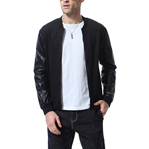(Men's Bomber Jacket Lightweight Casual Faux Leather Sleeve Varsity Outdoor Sport Coat)