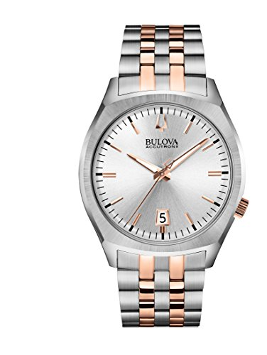 Bulova Mens 98B220XG Accutron Quartz Date Rose and Silver-Tone Dress 41mm Watch (Renewed) (Accutron Mens Watch)
